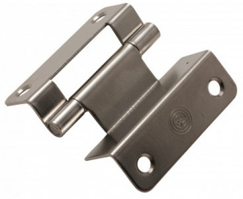 Double cranked hinge with plain pin, 14 mm, nickel