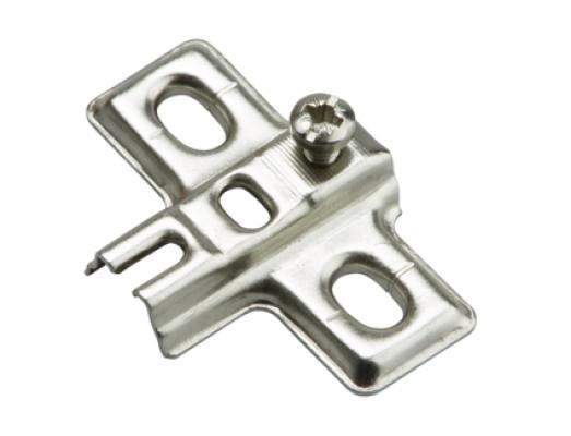 SLIDE ON mounting plate,  cruciform, 0 mm, steel, 2 hole, nickel