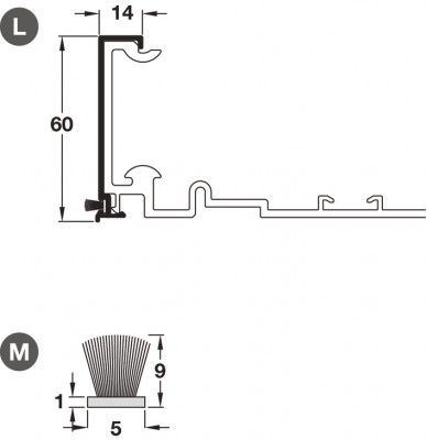 Dust brush profile, flush sliding wardrobe door, PS40, top hung system, length 3050 mm