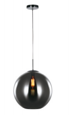 Ceiling pendant, small, Ø 300 mm, Oberon, mains voltage, transparent chrome