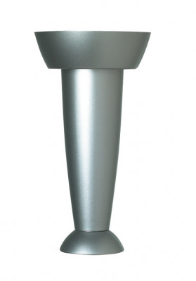 Cabinet foot, set of 4 feet, 150 mm high, plastic, silver, lacquered