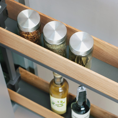 Bottle rack, SNELLO FIORO, soft close, NL=475 mm, H=520 mm, CW=300 mm, PEKA, anthracite
