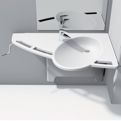 Height adjustable fittings, support washbasin, ropox, flexi version, left  version