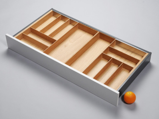 Cutlery divider for ANTARO/LEGRABOX/TA'OR C=950-1050 mm, NL=500 mm, oak