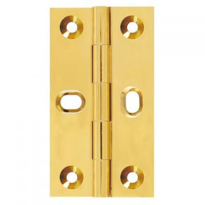 Butt hinge, elongated screw holes, brass, 63x35 mm, Aged Brass