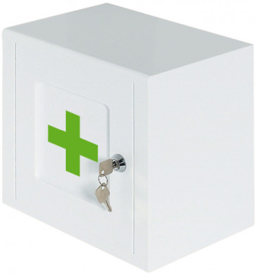 Lockable medicine cabinet, white with green cross logo, ninka, width 259 mm