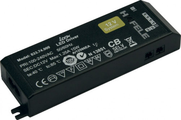 Led driver 60W/12V, for 1-6 light, without mains lead no switch, rated IP20, LOOX, black