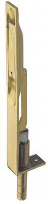 Flush bolt, lever action, extended throw, width 19 mm, brass, 203x19 mm, polished