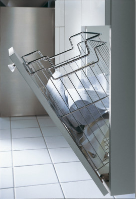 Laundry basket, angled, CW=450 mm, chrome