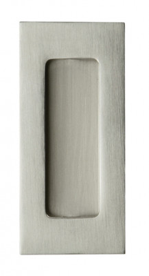 Pull handle, flush, 102x50 mm, brass, concealed fixing, satin nickel