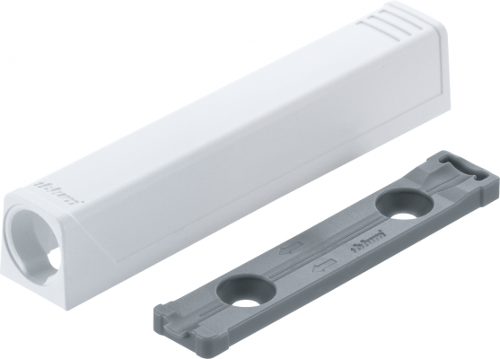 TIP-ON long version adapter plate for doors, straight  (20/32 mm), white