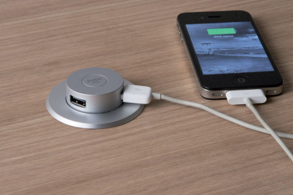 USB charger, Ø 66 mm, pop-up, 2 x USB chargers, silver