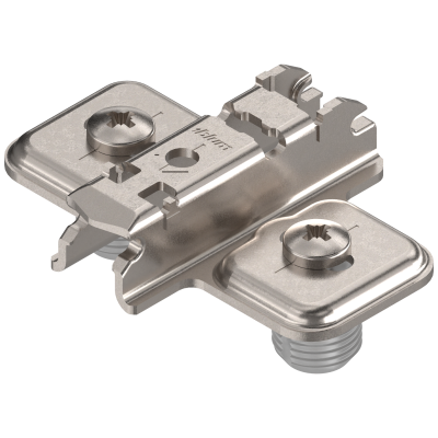 CLIP mounting plate, cruciform, 3 mm, steel, KNOCK-IN, elongated hole, nickel