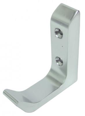 Coat hook, aluminum, 60x65 mm, face fixing satin anodised aluminum