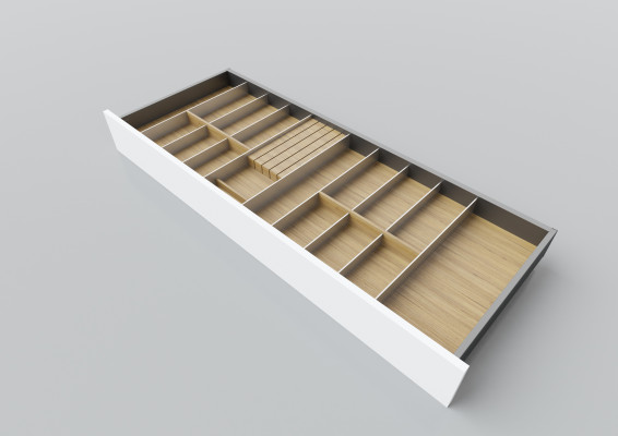 Cutlery divider for LEGRABOX/TA'OR C=1000-1200 mm, NL=450 mm, oak