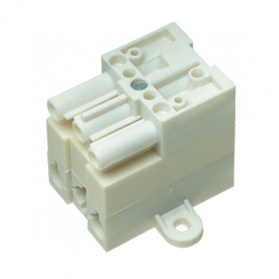 Distributor, 240 v, 4-way, 1 male, 3 female connectors, white
