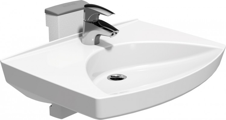 Height adjustable fittings, washbasin, ropox, white