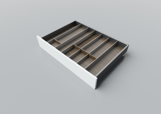 Cutlery divider for LEGRABOX/TA'OR C=700-950 mm, NL=550 mm, walnut