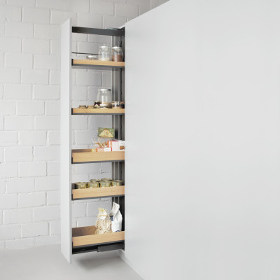 Larder, FIORO, CW=400 mm, H=1750-2205 mm, soft close, 5 storage baskets, PEKA, anthracite