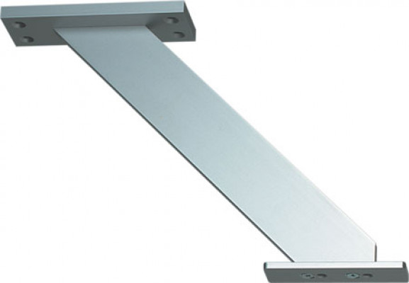 Breakfast bar support, inclined, for worktop mounting, matt aluminum