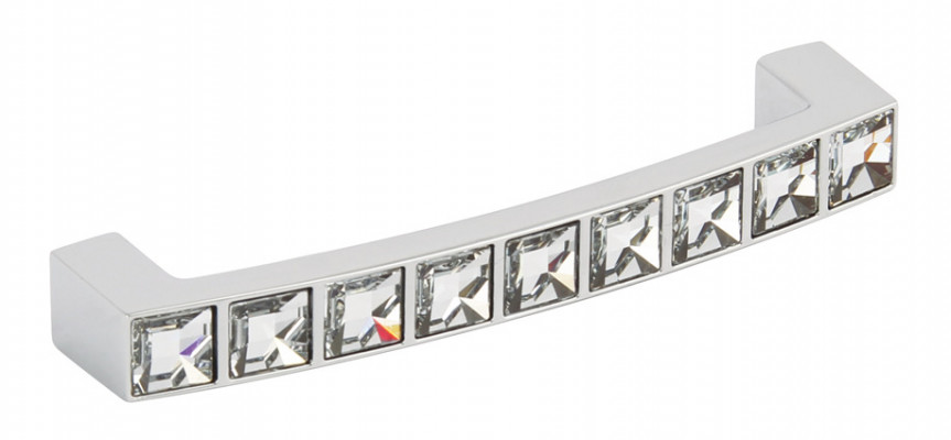 D pull handle, zinc alloy, centres 128 mm, Crystal, polished chrome