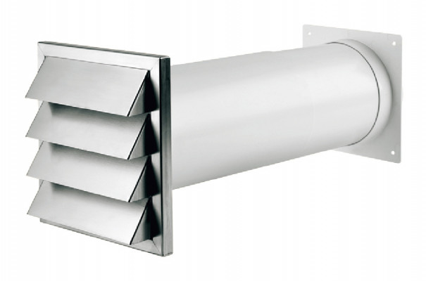 Wall vent system, stainless steel, with blind, system 125/150, system 125, tube › 125 mm