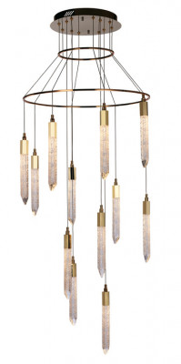 LED ceiling pendant, adjustable, IP20, 12 light, Shard, mains voltage, gold