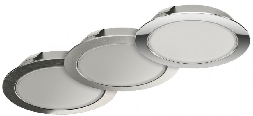 LED downlight 12 V, rated IP20, Ø 65 mm Loox LED 2047, polished chrome, warm white 3000K