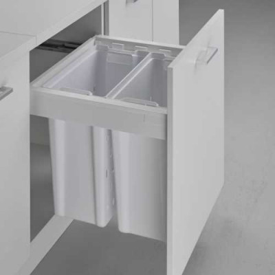 Laundry basket pullboy Z for ANTARO, CW=600 mm, 2x40 litre, WESCO, white
