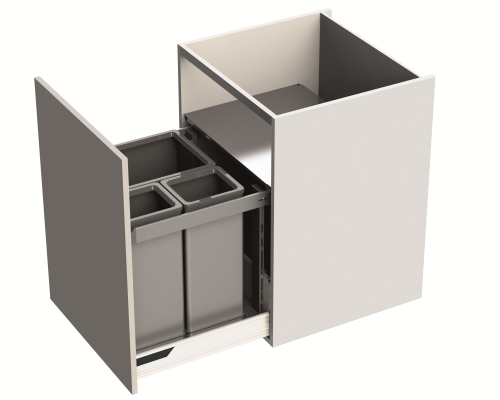 Door fitted bin LEGRABOX, lid & frame, CW=600 mm, 89 litre (1x55, 2x17 litre), grey