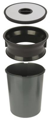 Worktop waste bin, for mounting in › 276 mm hole, 13 litre bin, black plastic