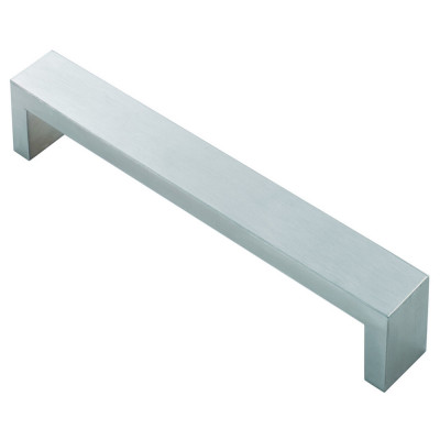Rectangular section D handle, centres 224 mm, stainless steel