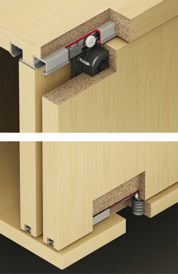 Eku clipo 26H, fitting set, 2 sliding cabinet doors, top hung system, back fixing