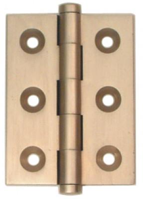 Butt hinge, button finial, 50x38 mm, brass, unwashered,satin nickel