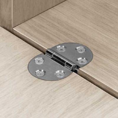 Flap hinge, 270ø, screw fixing, brass or steel, economy model, steel, polished  nickel