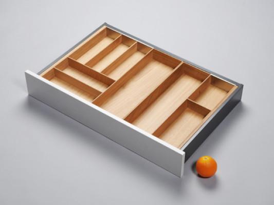 Cutlery divider for ANTARO/LEGRABOX/TA'OR C=567-930 mm, NL=500 mm, oak