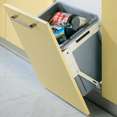 Waste bin, tilting, 30 litres, installation behind fronts -for cabinet width: min. 500 mm