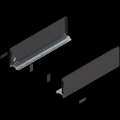 LEGRABOX drawer side, height K (128 mm), NL=450 mm, left+right, terra black