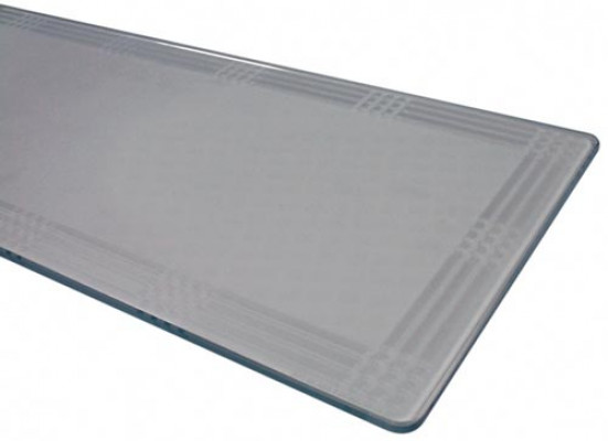 Shelf, clear 8 mm thick toughened glass, 793x200x8 mm
