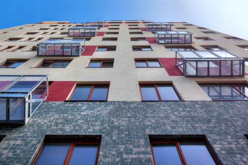 apartment block, flats, tilt shift