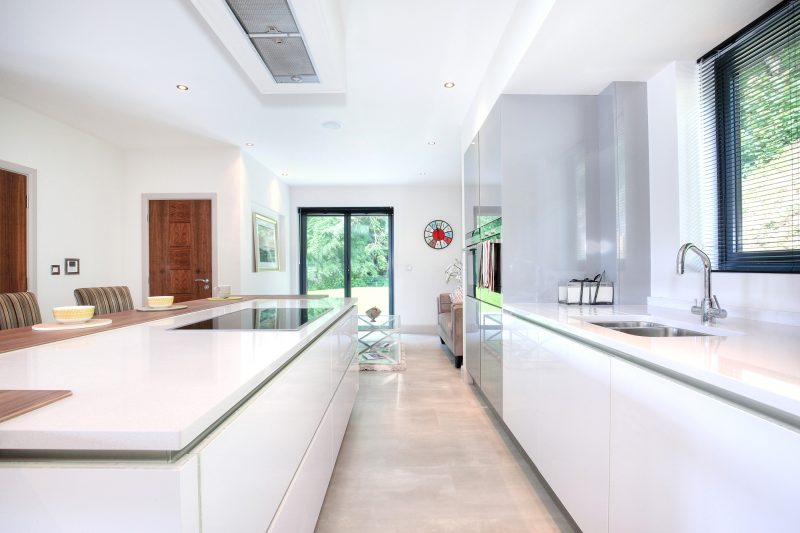 white kitchen, modern kitchen, kitchen, open plan