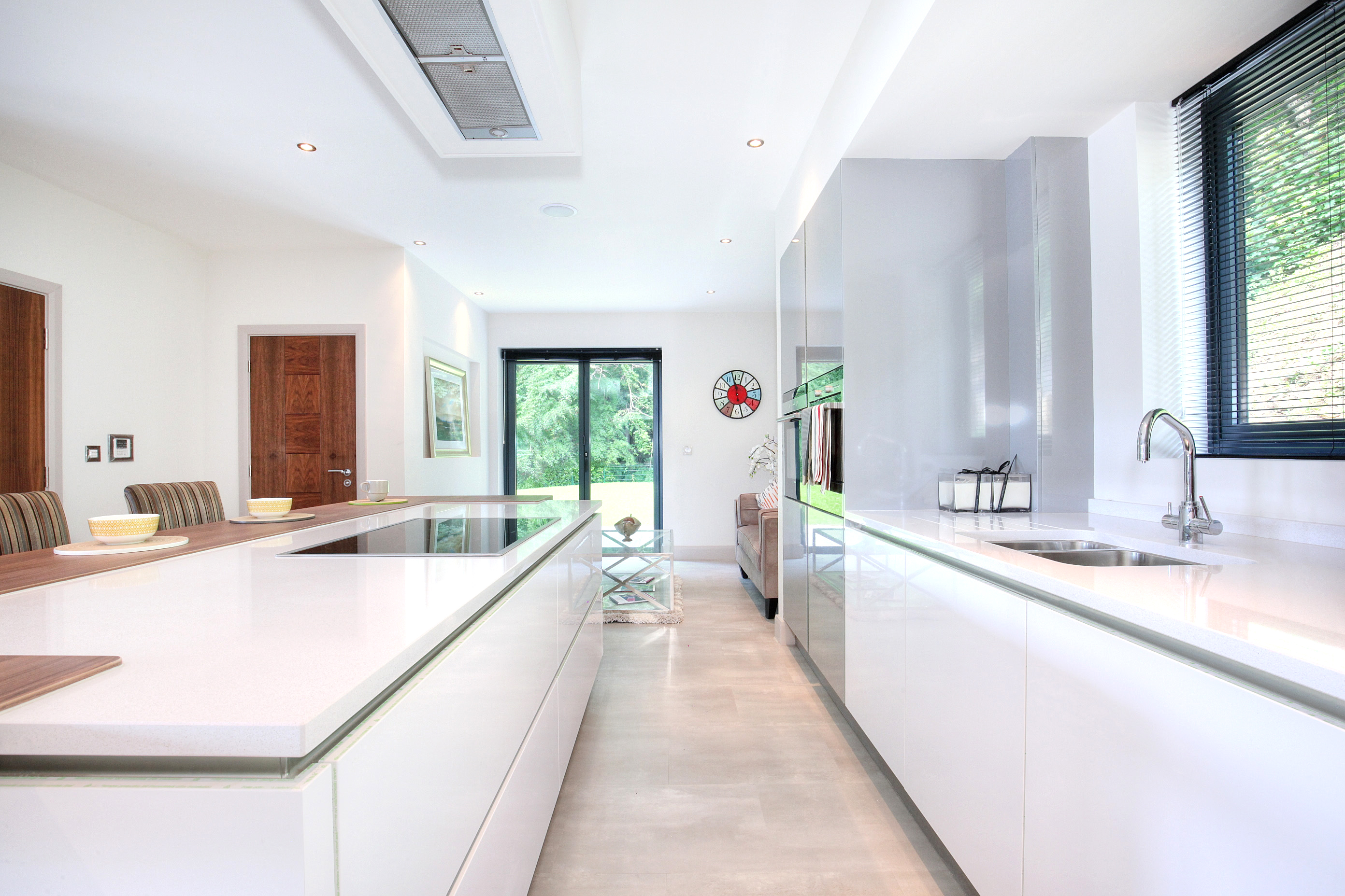 white kitchen, modern kitchen, kitchen, open plan