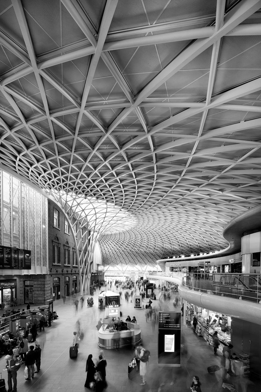 London, Kingscross, Kings cross, Architecture, Black and white, B&W