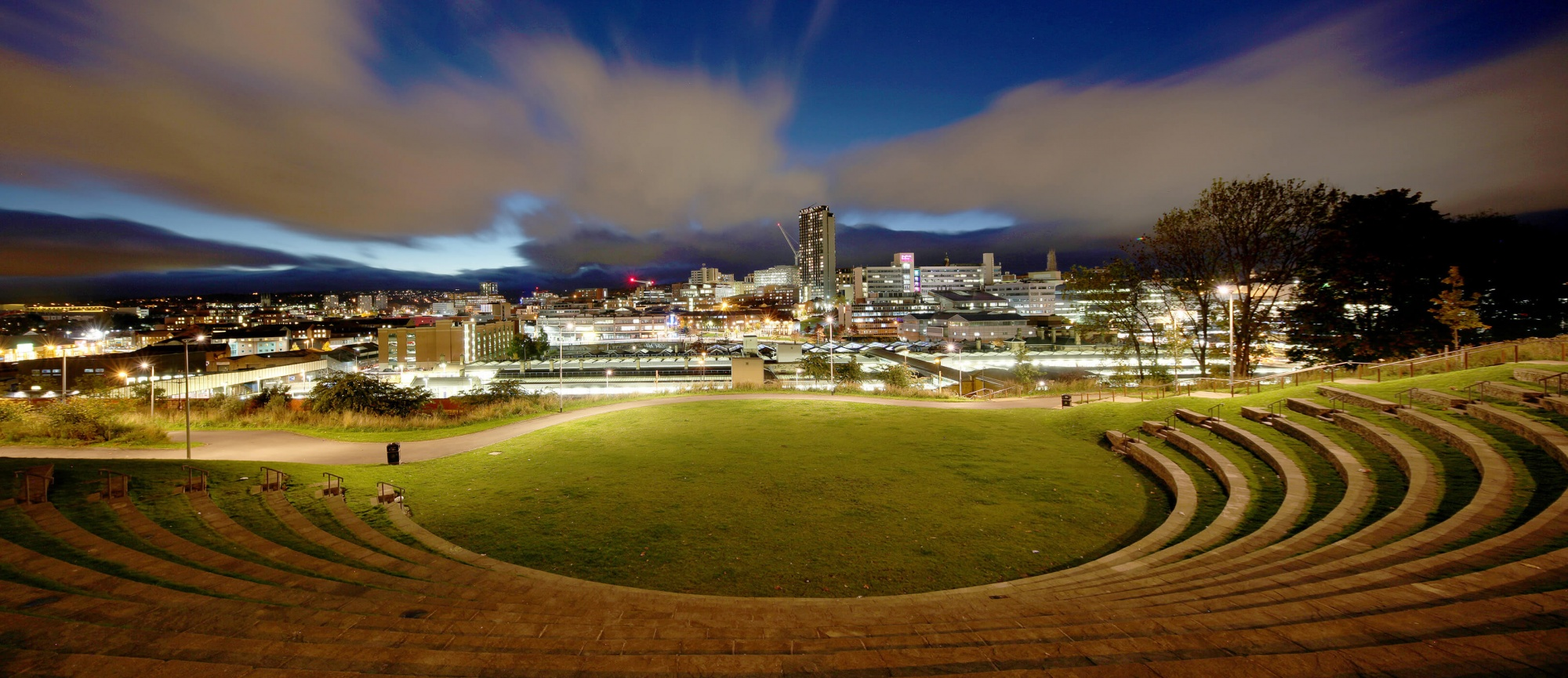 a night panorama of Sheffields city sky line, using a long exposure and stitching the pictures in photoshop creates a nice effect