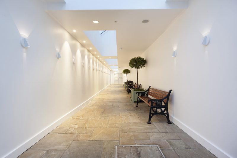 fantastic lighting in this long corridor leading to the toilets at Bicester Village Oxford