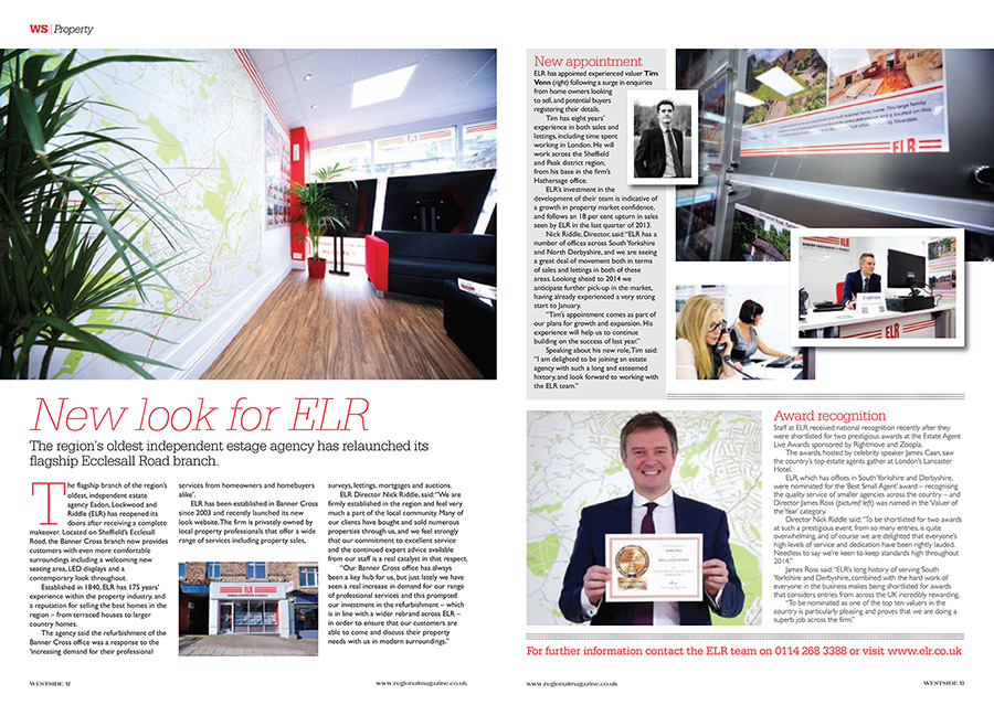 Estate agents ELR asked me to take some shots for a local Sheffield magazine to reveal their new and improved office space