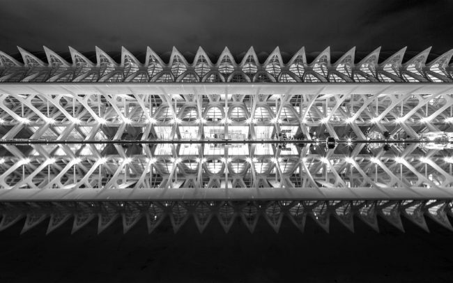 Santiago Calatrava's stunning design, the City of Art and Science in Valencia, Spain at night taken with a Tilt Shift lens and canon 5d