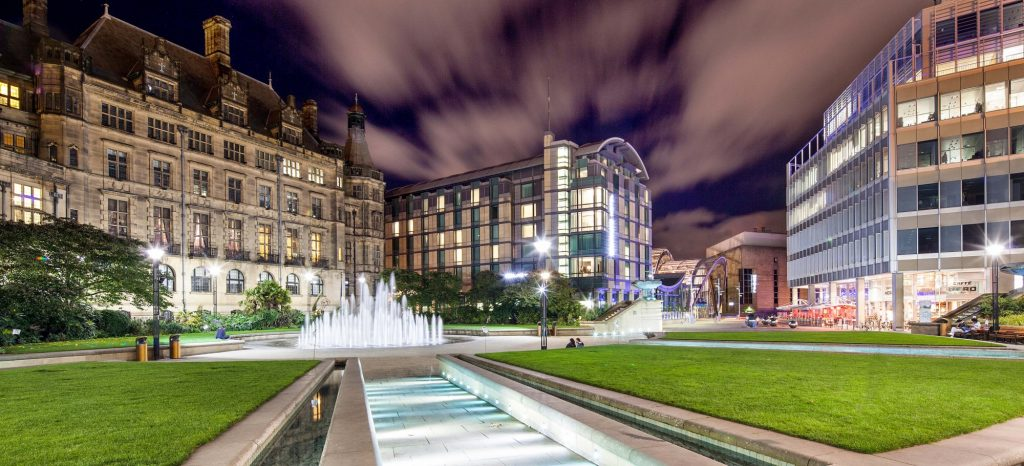 using a 17mm canon tilt shift lens enabled me to create this great shot of Sheffield's peace gardens in the centre of the city