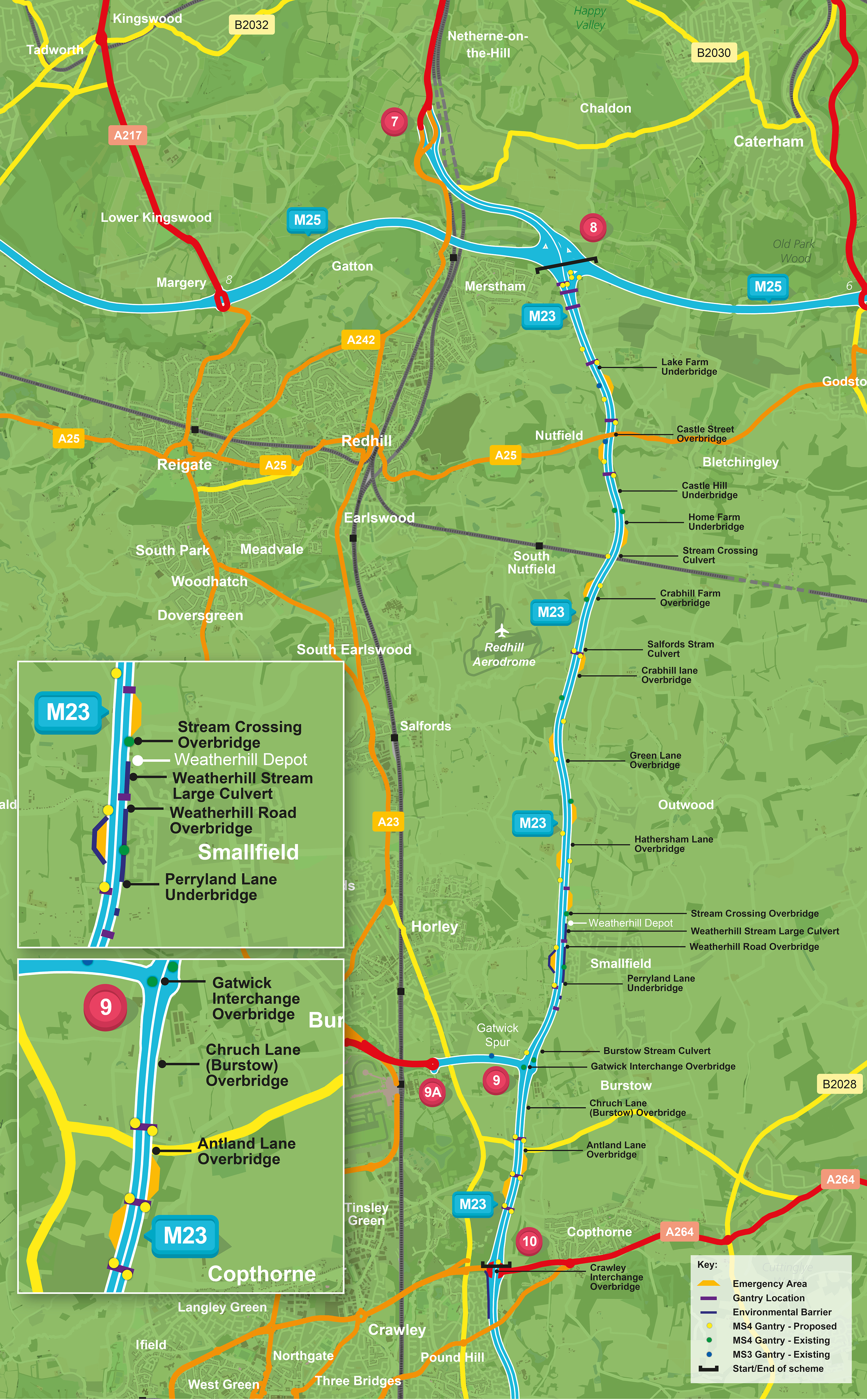 Map Of England Gatwick.Improvements And Major Road Projects M23 Junctions 8 To 10 Smart