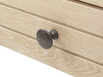 Clever Bubba blonde oak writing desk handle detail